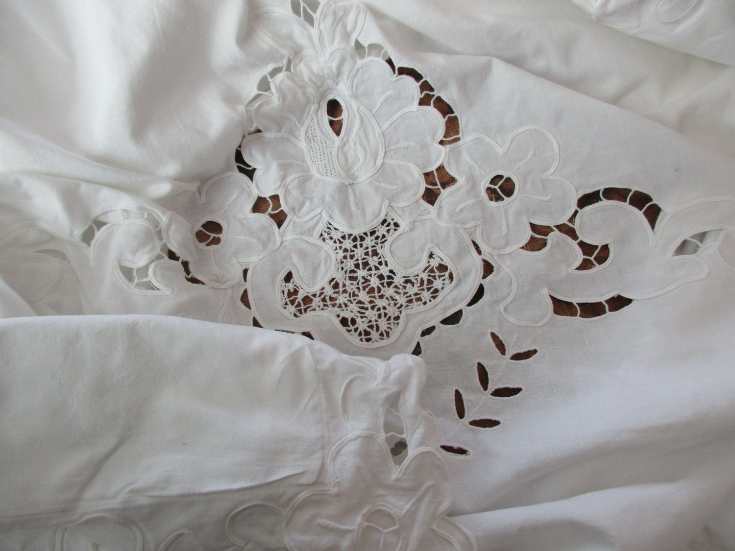 Shabby Chic Pillows White : LARGE Shabby Chic White PILLOW SHAM cotton cut out lace