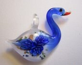 glass SWAN pendant - blue glass swan