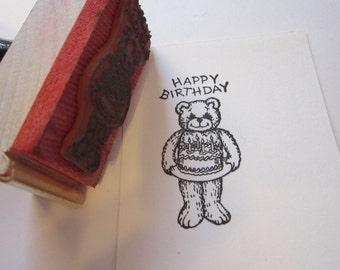 vintage rubber stamp - BIRTHDAY CAKE BEAR - peg handle stamp