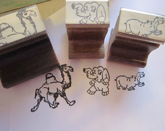 3 vintage rubber stamps - camel, elephant, and hippopotamus