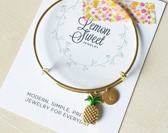 Personalized pineapple bangle, fun modern jewelry