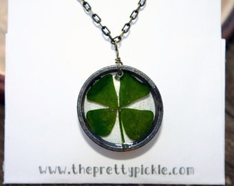 Real Four Leaf Clover Resin Necklace, Lucky Necklace, Clover Resin Necklace, Real 4 leaf clover