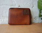 VTG 1940s Lin Bren Tooled Leather and Brass Cigarette Case