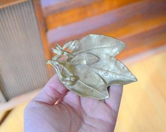 vintage brass orange leaf dish - virginia metal crafters