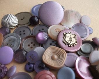 VINTAGE BUTTONS Lavender Purple Brown