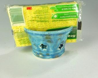 Ceramic sponge holder, pottery sponge keeper, stoneware sponge dish, kitchen sponge holder, blue glaze with stars