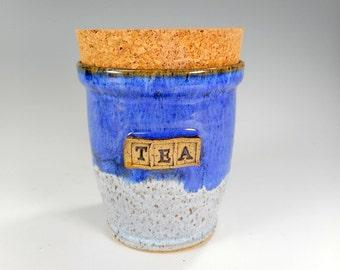 Pottery tea jar, ceramic tea bag jar, ceramic kitchen storage jar, stoneware tea jar with cork lid, pottery TEA canister, blue glaze