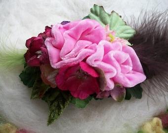 Silk Velvet Rose Hair Barrette, Vintage Rose Color Silk Velvet Rose and Feather Hair Clip Velvet Flowers Green Leaves