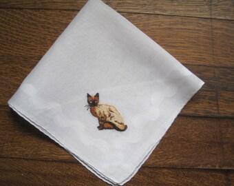 Vintage Siamese Cat Kitten Kitty Embroidered Hankie