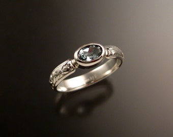 Aquamarine victorian floral pattern band bezel set stone Sterling silver ring made to order in your size