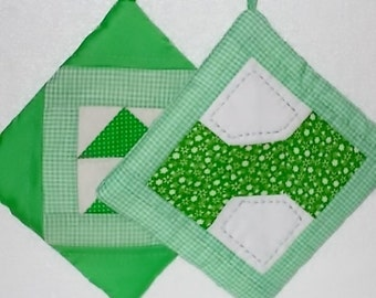 POTHOLDERS (#5)  Apple Greens, Bow Tie, and Flying Geese Traditional Quilt Pattern,  Handmade in GA, Manish, Masculine, Nature Lover