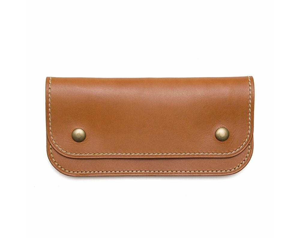 "QMC ""Skill Wins Favor"" Handmade Leather Biker Wallet - Natural Leather"