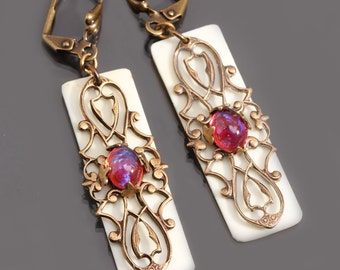 Dragons Breath Opal Earrings, Filigree Earrings, Piano Key Jewelry