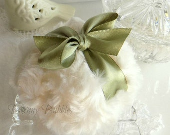 Green and Ivory Powder Puff -  olive green and cream plush - gift boxed - handmade by Bonny Bubbles
