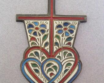 Vintage Terra Sancta Guild 1968 Brass and Inlaid Enamel Cross Wall Hanging Medallion