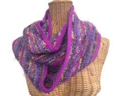 Purple Infinity Scarf Knitted Wool