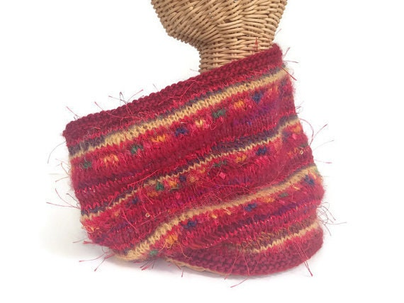 Knitting Pattern And Wool Kits : Red Knit Cowl Kit Hand Tied Wool Hand Tied Boutique Art Yarn Knitting Yarn Cr...