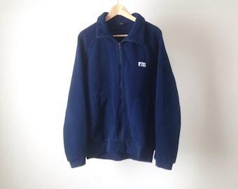 vintage 90s zip up FLEECE navy blue JACKET coat sweatshirt
