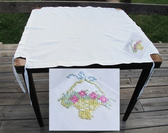 Vintage Tablecloth 40s 50s Tea Linen Embroidered Flower Basket and Corner Ties - on sale
