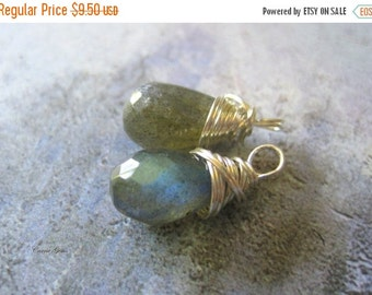 20% OFF ON SALE Labradorite Sterling Silver Wire Wrapped Briolette Dangle, 1 pc, Gemstone Beads