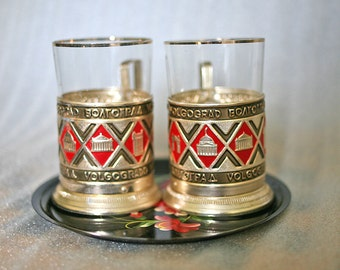 Pair Russian Tea Glass Holders with a Tray Volgograd Hand Painted Collectible from Russia Soviet Union USSR