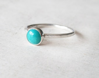 Turquoise ring,sterling silver ring, gemstone ring,December birthstone ring,gemstone silver ring,round turquoise ring,turquoise jewelry