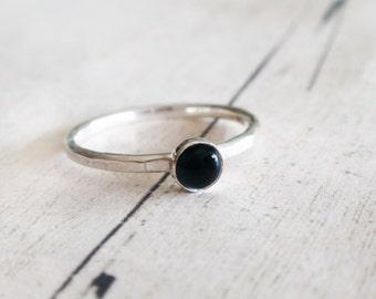Black onyx ring, black gemstone ring, tiny black onyx ring, stacking silver ring, round black onyx ring, stackable ring