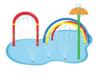 Splash Pad Clip Art, Cute Digital Clipart, Water Park Clip art, Summer Swim Graphics, Illustration, #1692