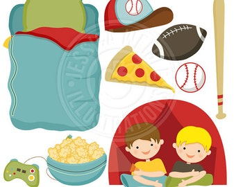 Boys Night Over Cute Digital Clipart - Commercial Use OK - Boys Camping Out Clipart, Sleeping Bag, Tent