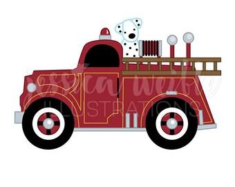 Vintage Fire Truck with Dalmatian Cute Digital Clipart, Fire Truck Clip art, Firetruck Graphic, Fire Truck with Dalmatian Illustration, #142