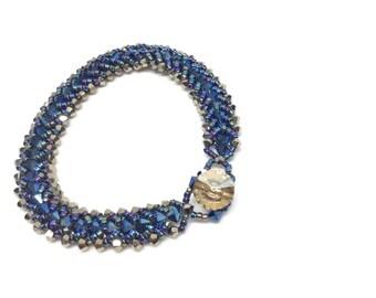 blue and gold . swarovski crystal bracelet . dark blue . gold . navy blue . mother of the bride . groom jewelry