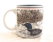 Loons Coffee Mug, Vintage Ganz Featherstone Cup in White and Green (H4)