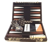 Pierre Cardin Backgammon Set, Vintage Game in Brown Logo Print Case