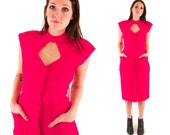 RUBY 80s Hot Pink Bright Sassy Cut Out Backless Silky Sexy Pretty Woman Cocktail Party Dress Small S
