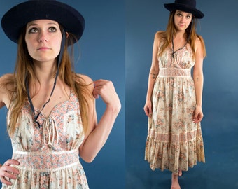 ASTRID 70s Gorgeous Springtime Floral Pink Blossom Lace Up Gunne Style Feminine Charming Bohemian Gypsy Prairie Dress Medium M
