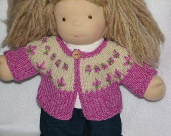 Doll Sweater in Pink Purple Wool for 15 inch doll RTG hand knit and hand embroidered