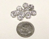 6mm Clear Silver Plated Wavy Rhinestone Rondelle Spacers (100)