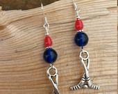 Hockey Earrings, Hockey Sticks Blue Red Sterling Silver Earrings, Red Blue Hockey Sticks Sterling Earrings, Silver Hockey Sticks Earrings