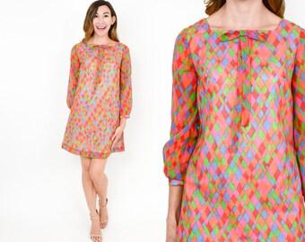 60s Mod Print Dress | Pink Orange Geometric Print Long Sleeve Shift Dress | Small