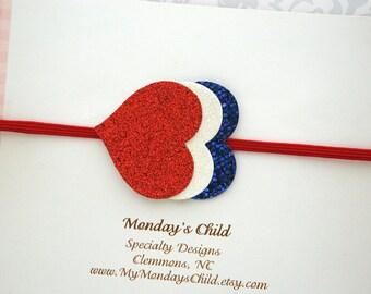 4th of July Baby Headband, 4th of July Headband, Red White and Blue Headband, 4th of July Baby Girl, Baby Headband, Toddler Headband