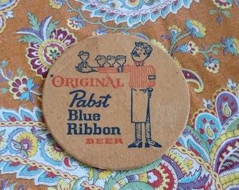 Vintage Coaster Original Pabst Blue Ribbon Beer Barware Hipster PBR