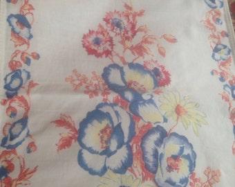 Vintage Printed Runner Floral Flowers Dishtowel kitchen towel cotton