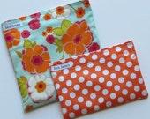 Reusable Sandwich Bag and Snack Bag Set Pretty Floral Orange Polka Dot