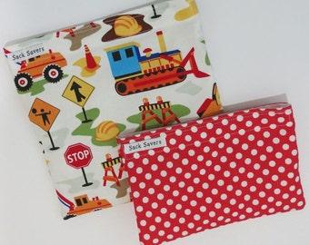 Reusable Sandwich Bag and Snack Bag Set Dig It Construction and Red Polka Dot Set