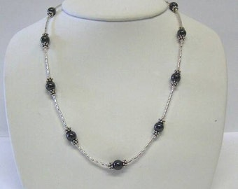 Hematite and Twisted Silver Necklace