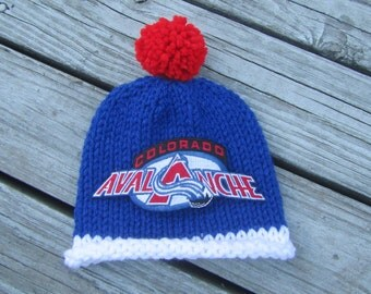 COLORADO AVALANCHE Baby Hat, Knit Baby Hat, Hockey Baby Hat, Baby Sports Hat, Hand Knitted Baby Hat, Baby Photo Prop Hat, Knitted Baby Hat