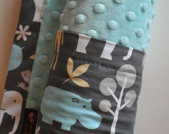 Gender Neutral XLARGE Baby Toddler Grey & Aqua Zoo Animals Blanket with Aqua Minky