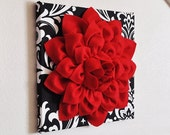 "Wall Flower Hanging -Red Dahlia on Black and White Damask 12 x12"" Canvas Wall Art - Wall Decor-"