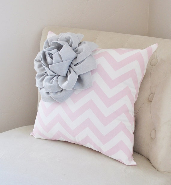 Gray Corner Dahlia on Light Pink and White Zigzag Pillow -Chevron Pillow-