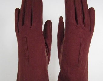 7-1/2-Womens Vintage Brown Kid Leather Gloves w/Fabric - 9-1/2 inches long(921g)